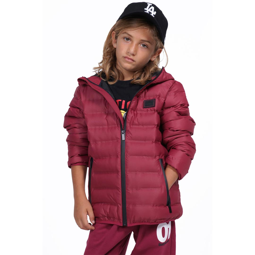 BODYACTION BOYS QUILT PADDED JACKET WITH HOOD 074903-01 Μπορντό